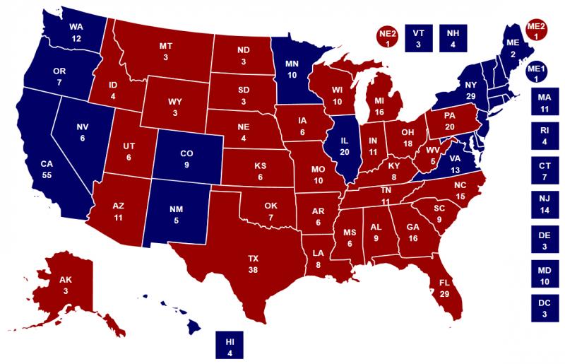 2016年美國總統大選選舉人票開票結果地圖
