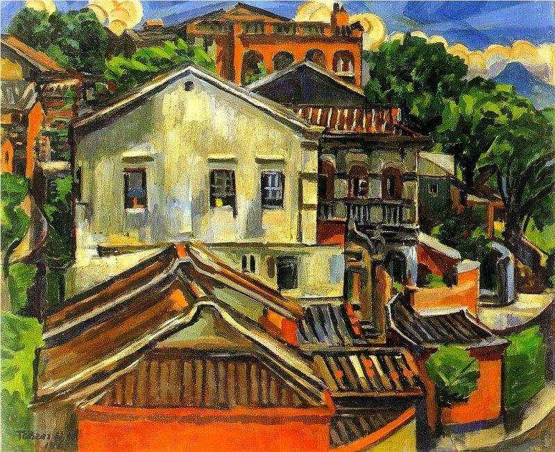 陳慧坤,《淡水白洋樓》,1965。(圖片:網路美術館)