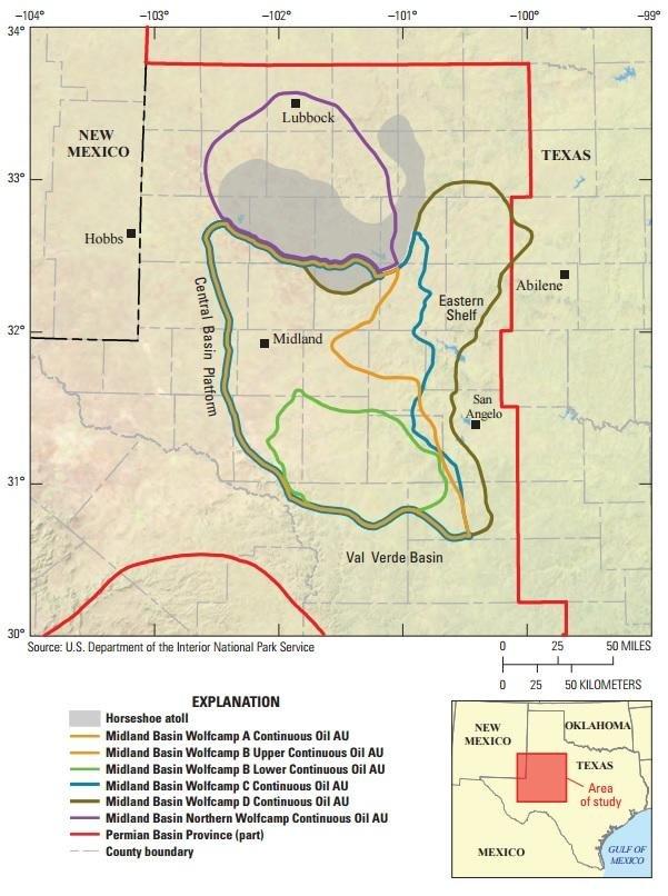 德州新發現油頁岩的區域。(美國地質調查局)