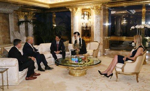 日本首相安倍晉三17日飛至紐約與美國準總統川普會談(日本首相邸)