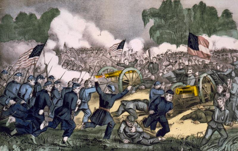 描繪蓋茲堡戰役的繪畫。(圖/維基百科公有領域)