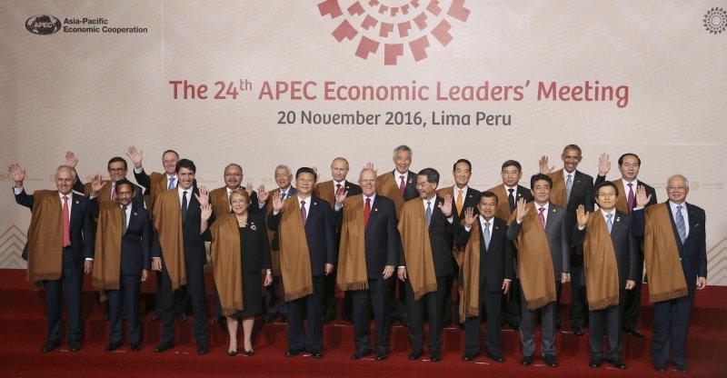 APEC成員國領袖與代表在利馬峰會後合影。(美聯社)