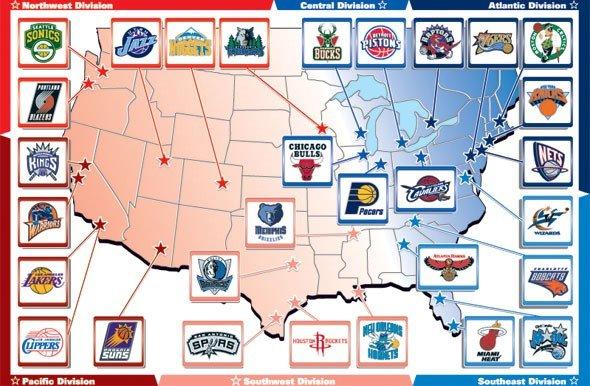 NBA球隊在美國的地理分布。 (資料來源:Google,作者提供)
