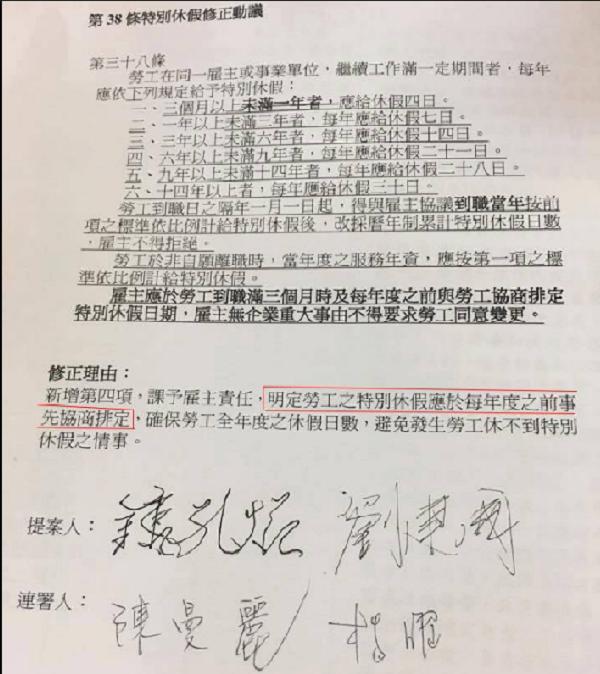 民進黨立委提案修改勞基法,勞工特休要一年前協商。