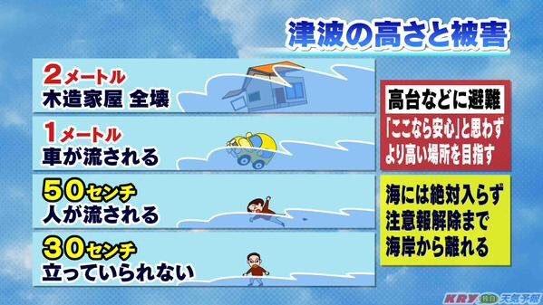 日本電視解說海嘯高度不同帶來的危害。(翻攝網路)