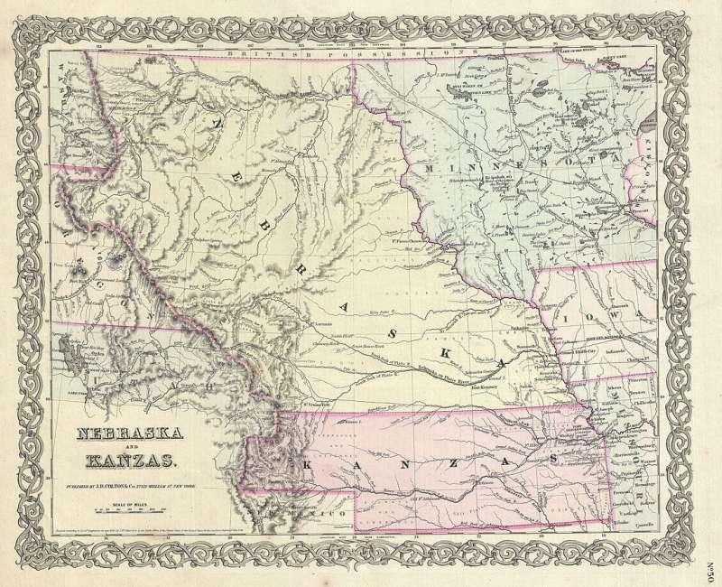 「堪薩斯-內布拉斯加法案」劃定的堪薩斯與內布拉斯範圍(Wikipedia/Public Domain)