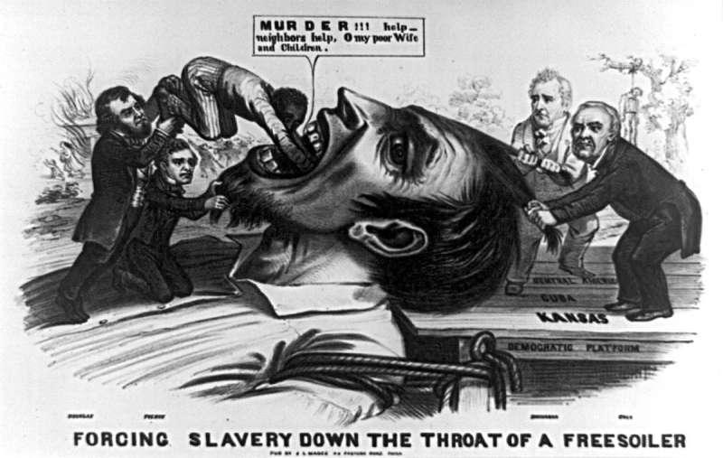 1856年的插畫,畫中的皮爾斯總統與參議員道格拉斯強迫反奴隸制人士吞下黑人奴隸,諷刺「堪薩斯-內布拉斯加法案」是為了奴隸制的擴張(Wikipedia/Public Domain)