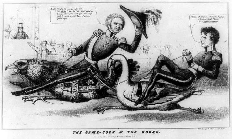 諷刺皮爾斯總統無能懦弱的插畫(Wikipedia/Public Domain)