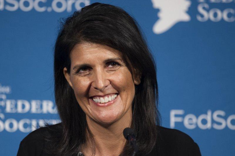 川普提名的ˊ第一位女性官員海莉,可能將出任美國駐聯合國大使。(美聯社)