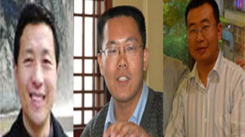 2011年2月16日被北京警方帶走而「失蹤」的中國維權律師唐吉田、滕彪和江天勇(從左到右)。