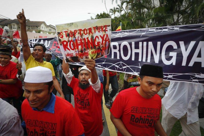 羅興亞人,馬來西亞,抗議,緬甸。(美聯社)