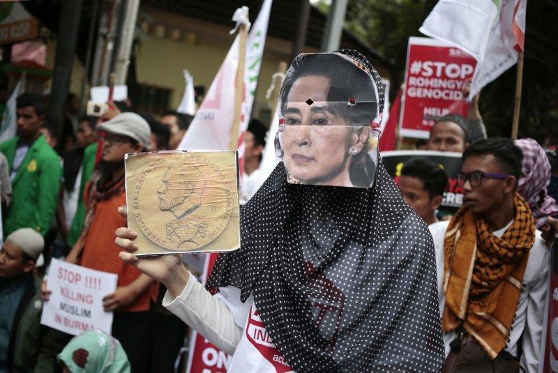 羅興亞人,印尼,穆斯林,抗議,緬甸。(美聯社)