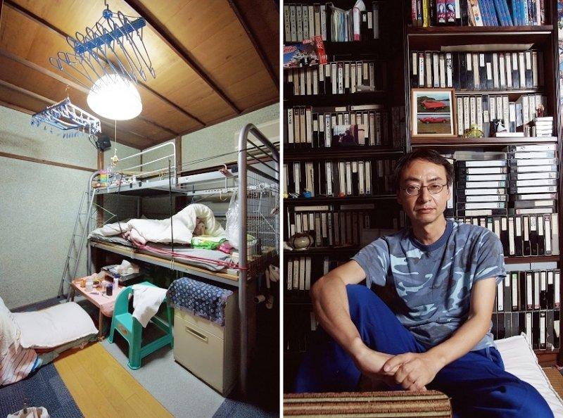 門田氏是一位話不多,敦厚沉穩的人,內心潛藏著對電影的熱愛。背景的錄影帶是提供給住戶的娛樂。因為屋舍老朽化而須進行補強工程。從榻榻米到地板都重新鋪過。(圖/時報出版提供)
