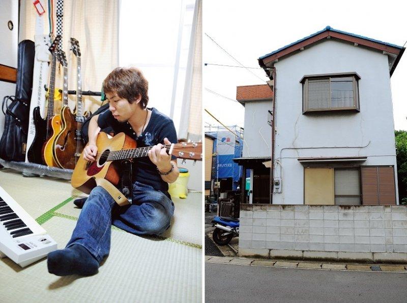 左圖篠原手上的「吉他」,21 歲時生平第一次按月分期付款購買的馬丁吉他,18 萬圓所堅持的就是這種易於彈奏的音效。右圖為租屋處外觀。(圖/時報出版提供)