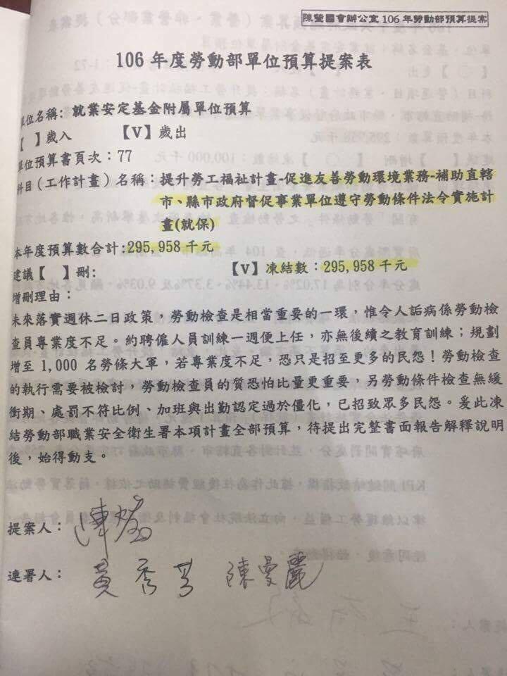 提案2016-11-30-立法院凍結勞動部勞動檢查預算-陳瑩提案-取自台灣電子電機資訊工會臉書