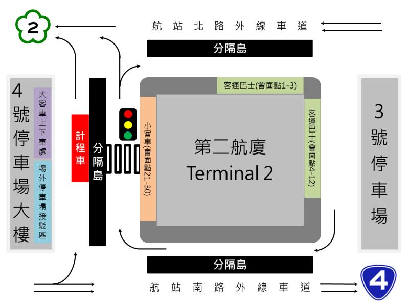 新規劃候車處自用車及計程車各行其道,加速疏解交通流量。(圖/擷取自桃園機場網站)
