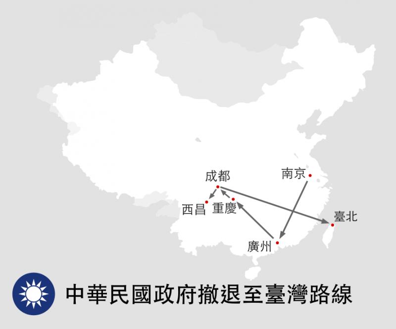 中華民國政府撤退路線圖(翻攝維基百科)