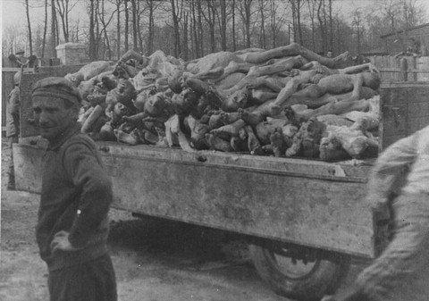 納粹大屠殺中的死屍堆積如山。(圖/維基百科公有領域)