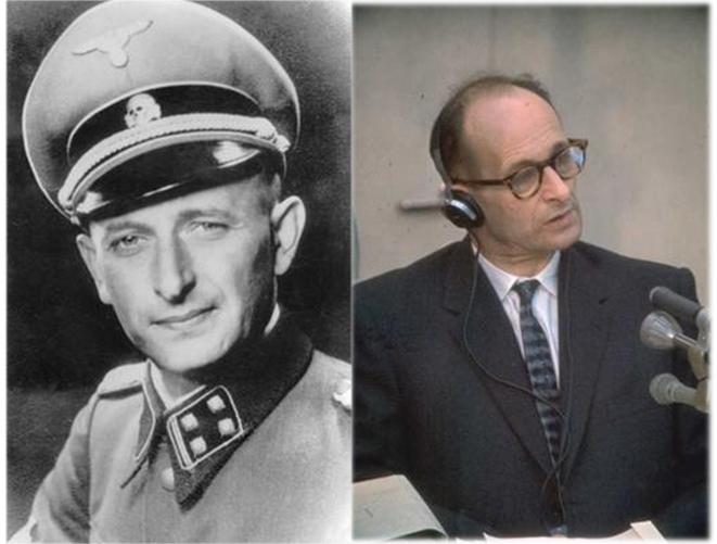 左:著納粹軍服的艾希曼;右:艾希曼於耶路撒冷受審。(圖/維基百科)