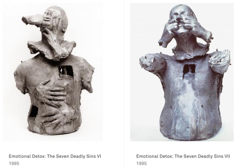 女哲學家Simone Weil《伊里亞特–原力之詩》封面為雕塑家Marc Quinn在1994-1996年間製作的《Emotional Detox》系列中的第七座雕像。(胡一天提供)