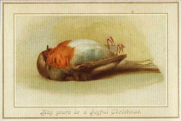 (圖/其中一張19世紀的聖誕卡。當時,美國和英國人認為「死去的知更鳥」代表「幸運」的意思,Outside提供)