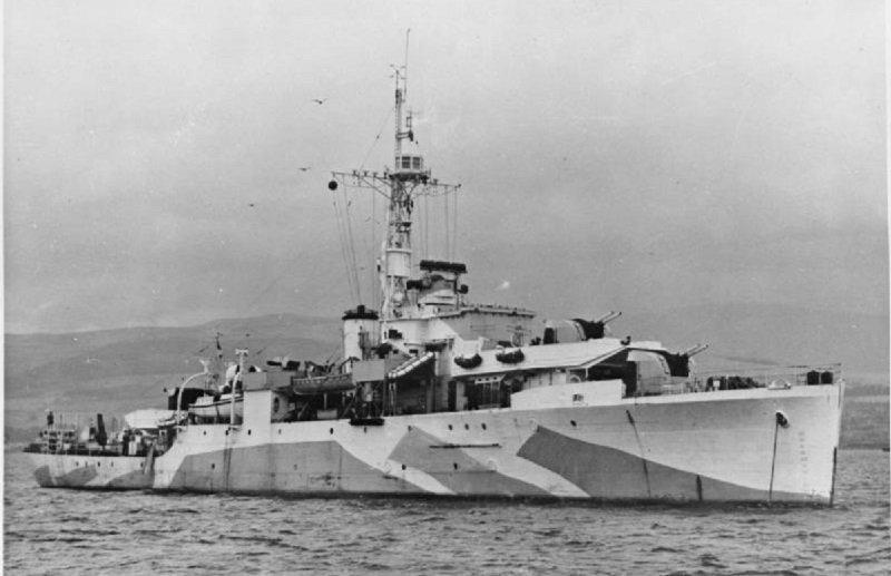 第二次世界大戰期間拍攝的「紫石英」號軍艦照片。(維基百科)