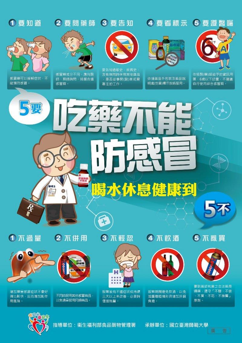 「吃藥不能防感冒喝水休息健康到」海報