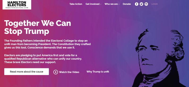 部分選舉人成立「漢密爾頓選舉團」,呼籲選舉人「摸著良心」投票(翻攝Hamilton Electors)