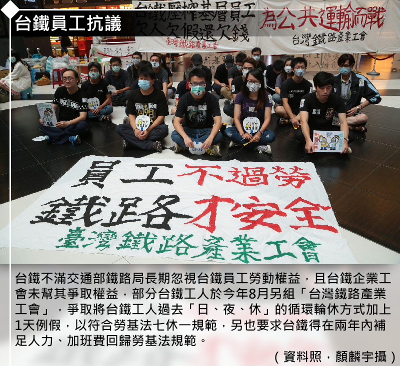 20161221-SMG0035-蔡英文的第一年》勞工抗爭、上任五大抗爭五張卡-1台鐵員工抗議.PNG