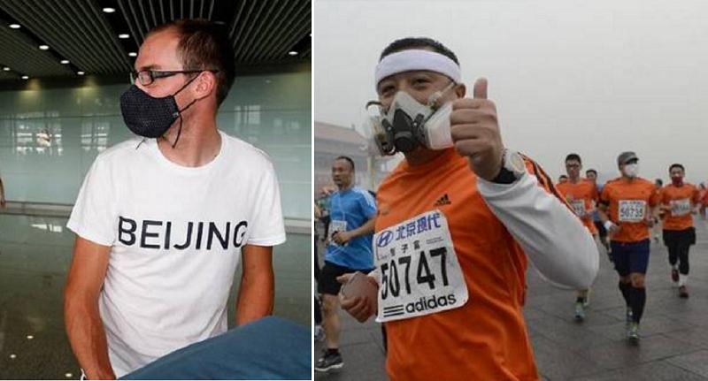 8年前,在北京戴口罩是可恥的,圖中的美國運動員曾經激怒了全中國(左)。到了 2014年北京國際馬拉松比賽,戴口罩太正常了(右)。(作者提供)