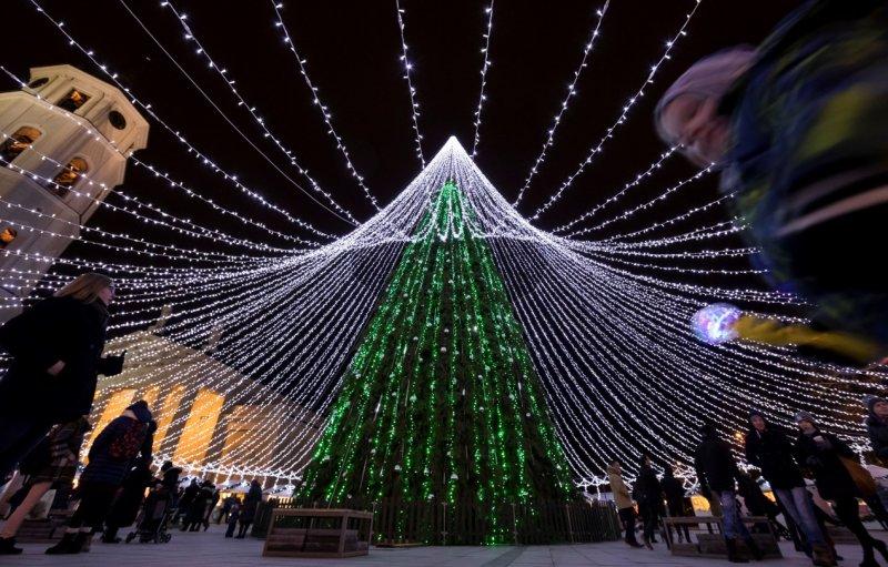立陶宛用小燈妝點出巨大聖誕樹,非常吸睛(AP)