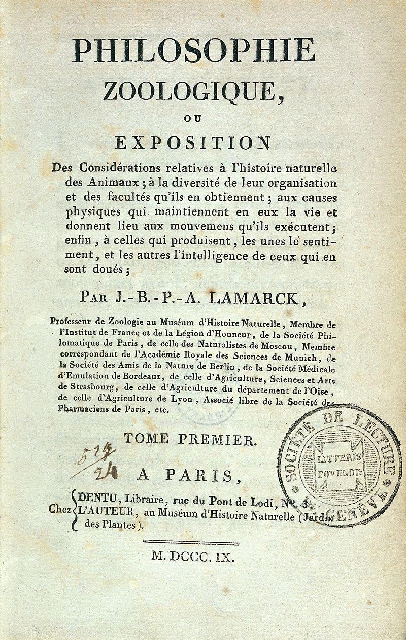 拉馬克的著作《動物哲學》。(wikipedia/CC BY 4.0)