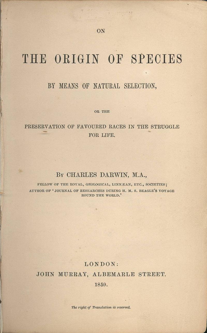 達爾文在1859年出版著作《物種起源》,成為現代生物研究基石。(wikipedia/public domain)