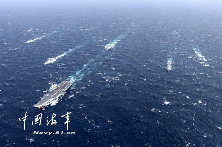 中國海軍的遼寧號航艦編隊。(中國海軍網)