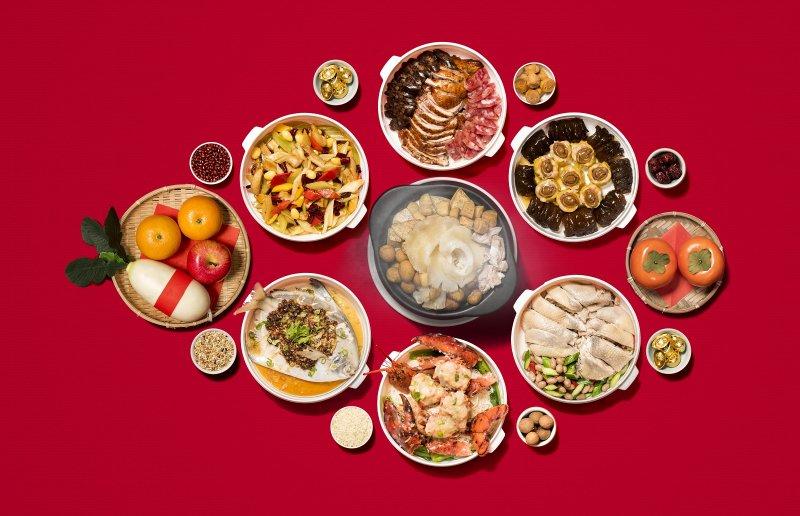 九華樓及華漾大飯店今年在年菜外帶套餐設計上,祭出多款頂級食材。(圖/華漾大飯店提供)