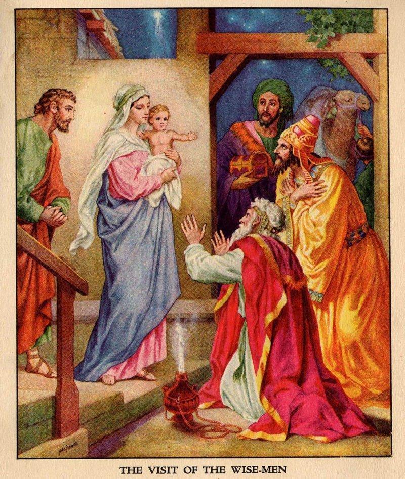 描繪東方三博士朝拜耶穌基督的畫作。(Heinrich Hofmann@Wikipedia)