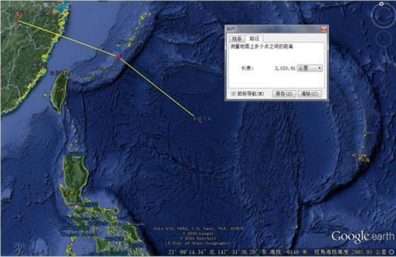 解放軍空軍從安徽二線機場投射至宮古海峽,再前出第一島鏈往東南方向菲律賓海,距離關島約1,500公里處,正好是長劍-20(AKD-20)遠程巡航飛彈的有效殺傷距離。