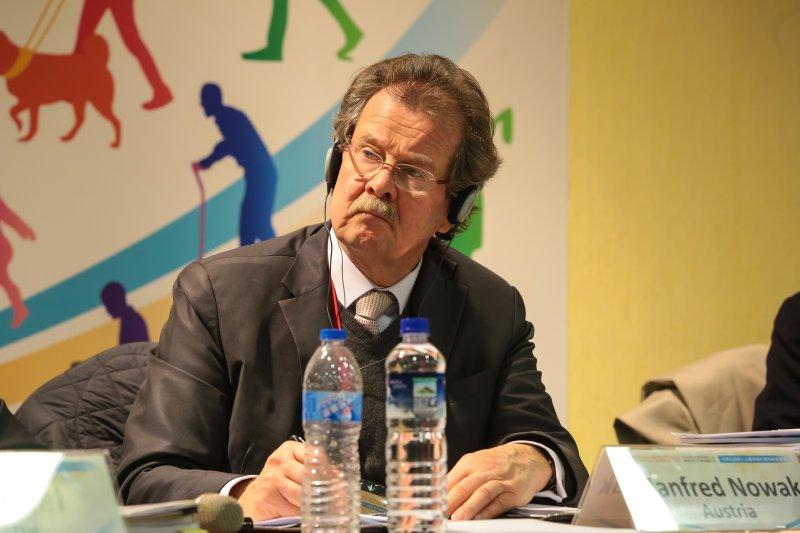 20170116-公政公約審查委員會主委、奧地利維也納大學法學院國際法與人權教授Manfred Nowak 16日出席「兩公約第二次國家報告國際審查會議」。(顏麟宇攝)