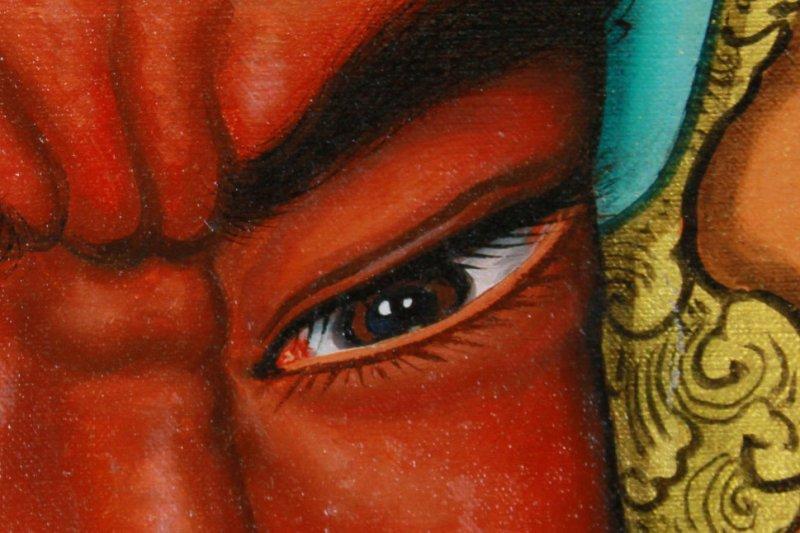 「門神的技法表現,從『眼睛』就看得出來。」劉家正講究光影、層次烘托出神韻,他描繪的眼神中乘載著情緒,帶出每位神明各自不同的故事。