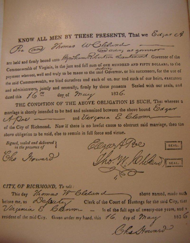 愛倫坡與維吉妮亞的結婚證書(Wikipedia/PD-US)