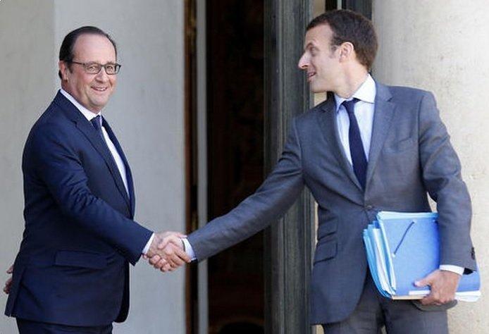 馬克宏與法國總統奧朗德(AP)