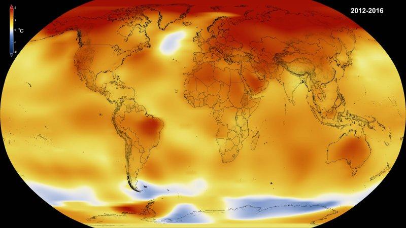 美國NOAA與NASA兩大科研機構發布的報告顯示,2016年是人類有氣溫統計以來最熱的一年(NASA)
