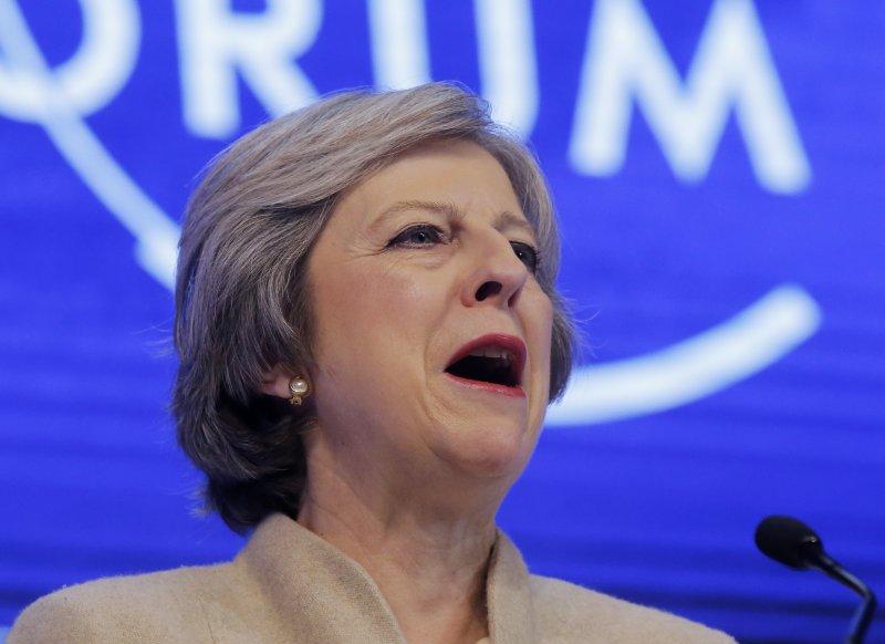 英國首相梅伊在達沃斯描述了脫歐後更為全球化的英國。(AP)