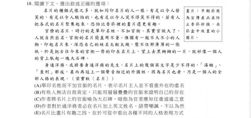 20170120-SMG0045-012-學測國文考科出現梁實秋《名片》一文,其中選項D讓補教老師爭論不已。(翻攝106年學測國文考題)