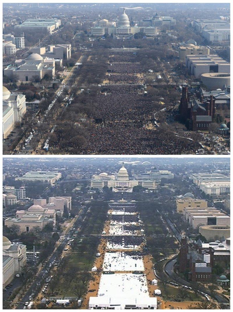 川普與歐巴馬比一比:上圖是2009年歐巴馬第一任總統就職時的觀禮民眾空拍,下圖是2016年1月20日川普就職。(美聯社)