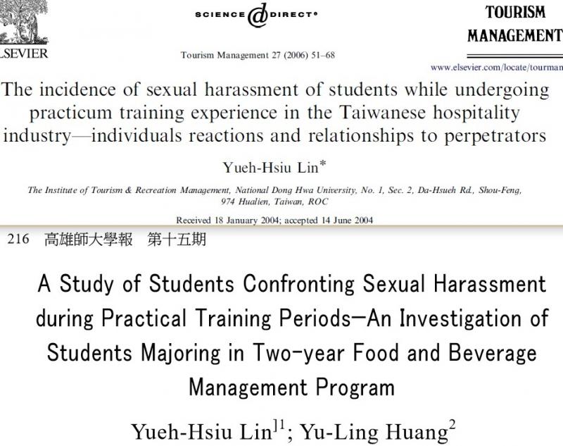 圖2: 單人作(2006, p.51)標題和雙人作(2003, p.216)英文標題與作者。(劉任昌提供)