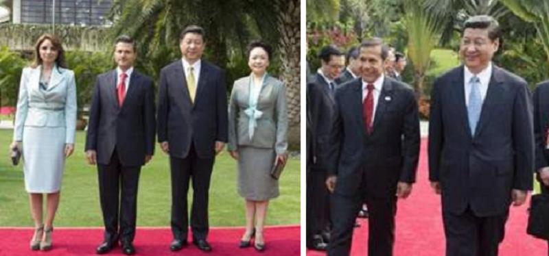 墨西哥總統裴尼亞(Enrique Peña Nieto,左2)和秘魯前總統烏馬拉(Ollanta Moisés Humala,右)是2103博鰲論壇的貴賓。