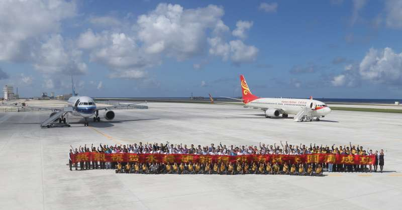 中國在永暑礁駐守重兵。(美聯社)