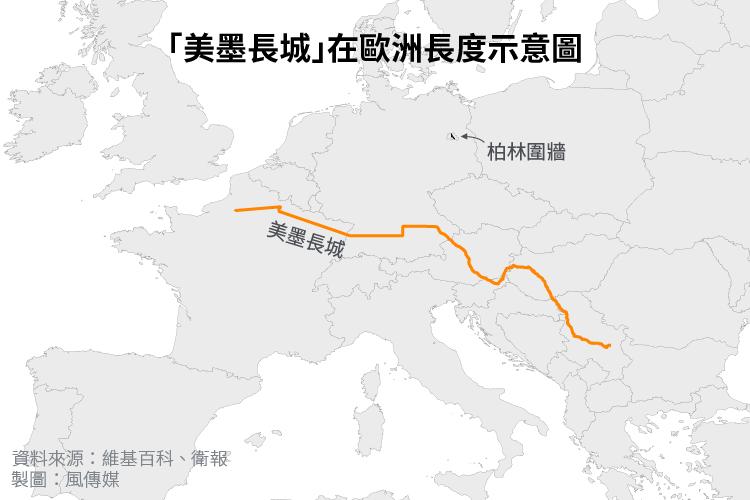 「美墨長城」在歐洲長度示意圖