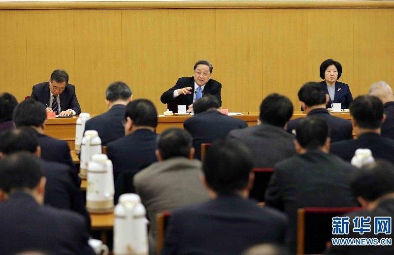 中國政協副主席俞正聲年前出席對台工作小組會議。(新華網)
